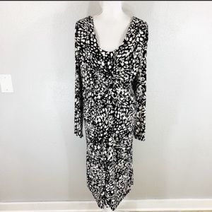 NWT Chaps black off white front knot jersey dress